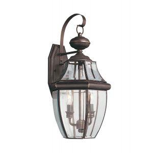 Sea Gull Lighting Lancaster 2-Light Outdoor Wall Lantern in Antique Bronze