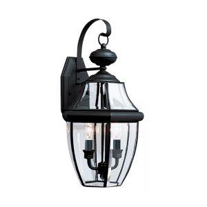 """Sea Gull Lancaster 20.5"""" 2-Light Outdoor Wall Lantern in Black"""