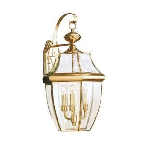 Sea Gull Lighting Lancaster 3-Light Outdoor Wall Lantern in Polished Brass