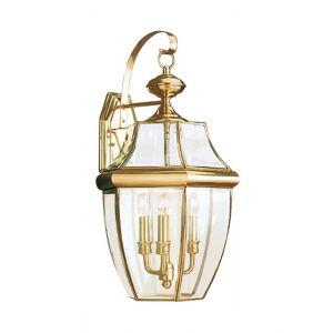 "Sea Gull Lancaster 23"" 3-Light Outdoor Wall Lantern in Polished Brass"
