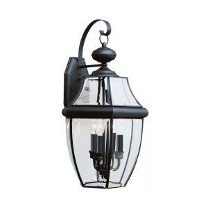 """Sea Gull Lancaster 23"""" 3-Light Outdoor Wall Lantern in Black"""