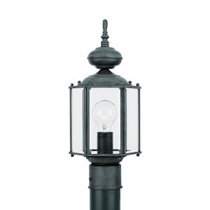 Sea Gull Lighting Classico 1-Light Outdoor Post Lantern in Black
