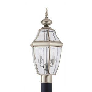 """Sea Gull Lancaster 21.5"""" 2-Light Outdoor Post Lantern in Antique Nickel"""