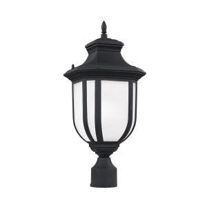 Sea Gull Lighting Childress 1-Light Outdoor Post Lantern in Black