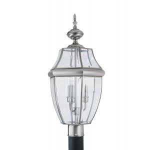 Sea Gull Lighting Lancaster 3-Light Outdoor Post Lantern in Antique Brushed Nickel