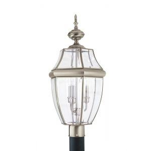 """Sea Gull Lancaster 24"""" 3-Light Outdoor Post Lantern in Antique Nickel"""
