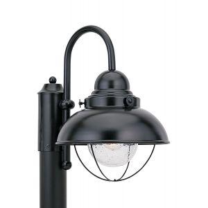 Sea Gull Lighting Sebring 1-Light Outdoor Post Lantern in Black