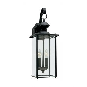 "Sea Gull Jamestowne 20.25"" 2-Light Outdoor Wall Lantern in Black"