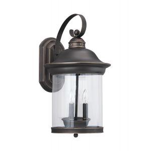 Sea Gull Lighting Hermitage 3-Light Outdoor Wall Lantern in Antique Bronze