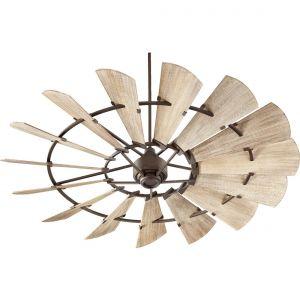 """Quorum Windmill 72"""" 15-Blade Indoor Ceiling Fan in Oiled Bronze"""