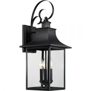 """Quoizel Chancellor 23.5"""" 3-Light Outdoor Wall Lantern in Mystic Black"""