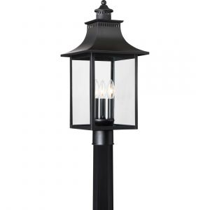 "Quoizel Chancellor 22"" 3-Light Outdoor Post Lantern in Mystic Black"