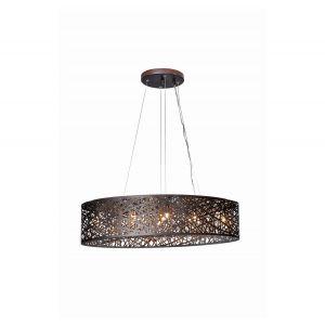 "ET2 Inca 31.5"" 9-Light Cognac Glass Linear Pendant in Bronze"
