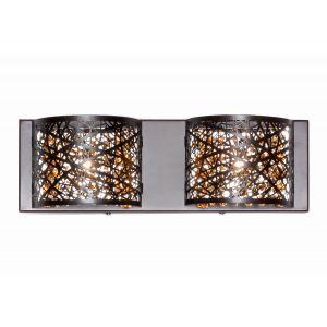 """ET2 Inca 15.75"""" 2-Light Cognac Glass Bath Vanity in Bronze"""
