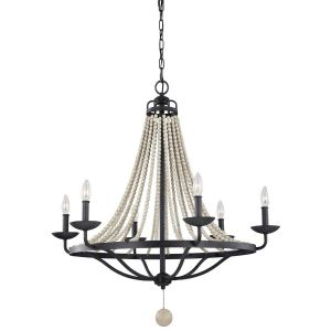 Feiss Nori Large Rustic Chandelier in Dark Zinc/Driftwood Grey