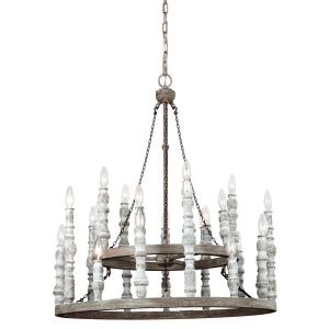 Feiss Norridge 24-Light Chandelier in Distressed Fence Board/White