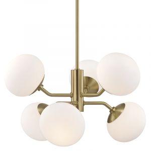 "Mitzi Estee 28"" 6-Light Chandelier in Aged Brass"