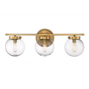 Trade Winds Lighting 3-Light Bath Bar in Natural Brass