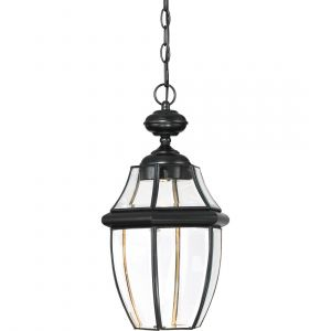 "Quoizel Newbury 19"" Clear LED Outdoor Hanging Lantern in Mystic Black"