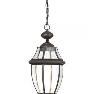 """Quoizel Newbury 19"""" Clear LED Outdoor Hanging Lantern in Medici Bronze"""