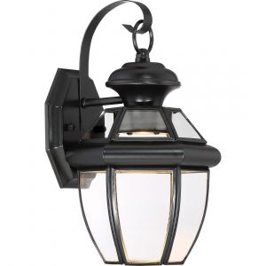 "Quoizel Newbury 12.5"" Clear LED Outdoor Wall Lantern in Mystic Black"