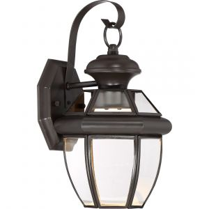 "Quoizel Newbury 12.5"" Clear LED Outdoor Wall Lantern in Medici Bronze"