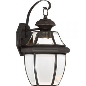 """Quoizel Newbury 14"""" Clear LED Outdoor Wall Lantern in Medici Bronze"""