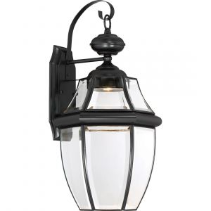 "Quoizel Newbury 20"" Clear LED Outdoor Wall Lantern in Mystic Black"