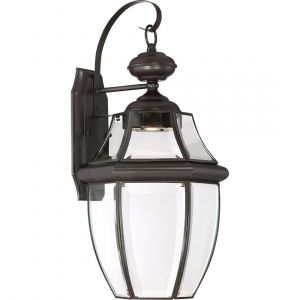 """Quoizel Newbury 20"""" Clear LED Outdoor Wall Lantern in Medici Bronze"""