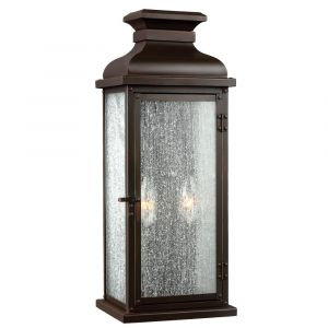 """Feiss Pediment 18.13"""" 2-Light Outdoor Wall Sconce in Dark Aged Copper"""