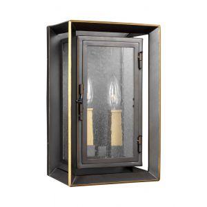 "Feiss Urbandale 13"" 2-Light Outdoor Wall Lantern in Bronze/Brass"