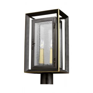 Feiss Urbandale 2-Light Outdoor Lantern Post in Bronze/Burnished Brass