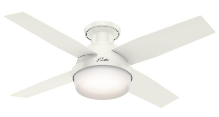 """Hunter Dempsey 44"""" LED Low Profile Indoor Ceiling Fan in White"""