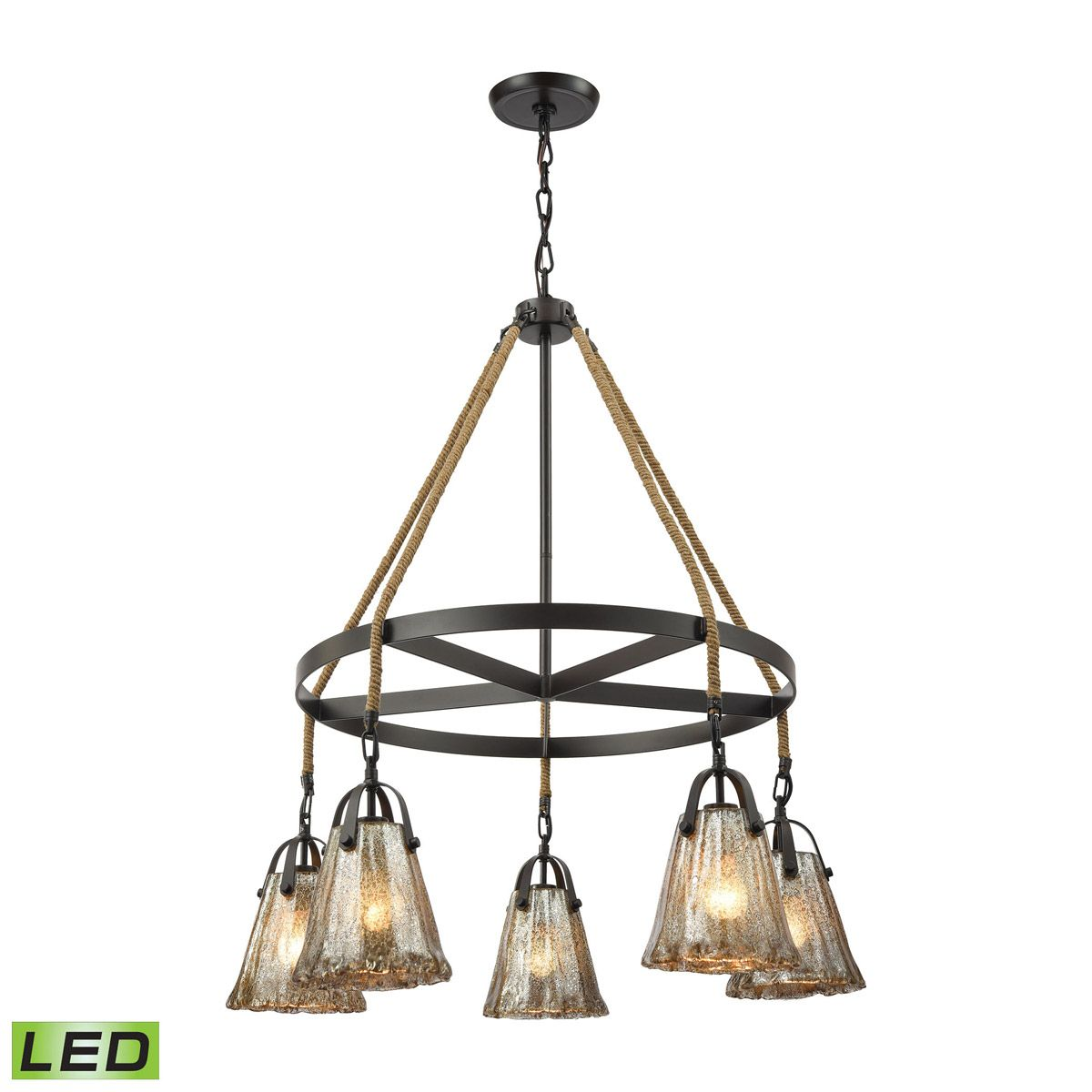 "Elk Lighting Modern Farmhouse: Elk Lighting Hand Formed 33"" 5-Light LED Chandelier In Oil"