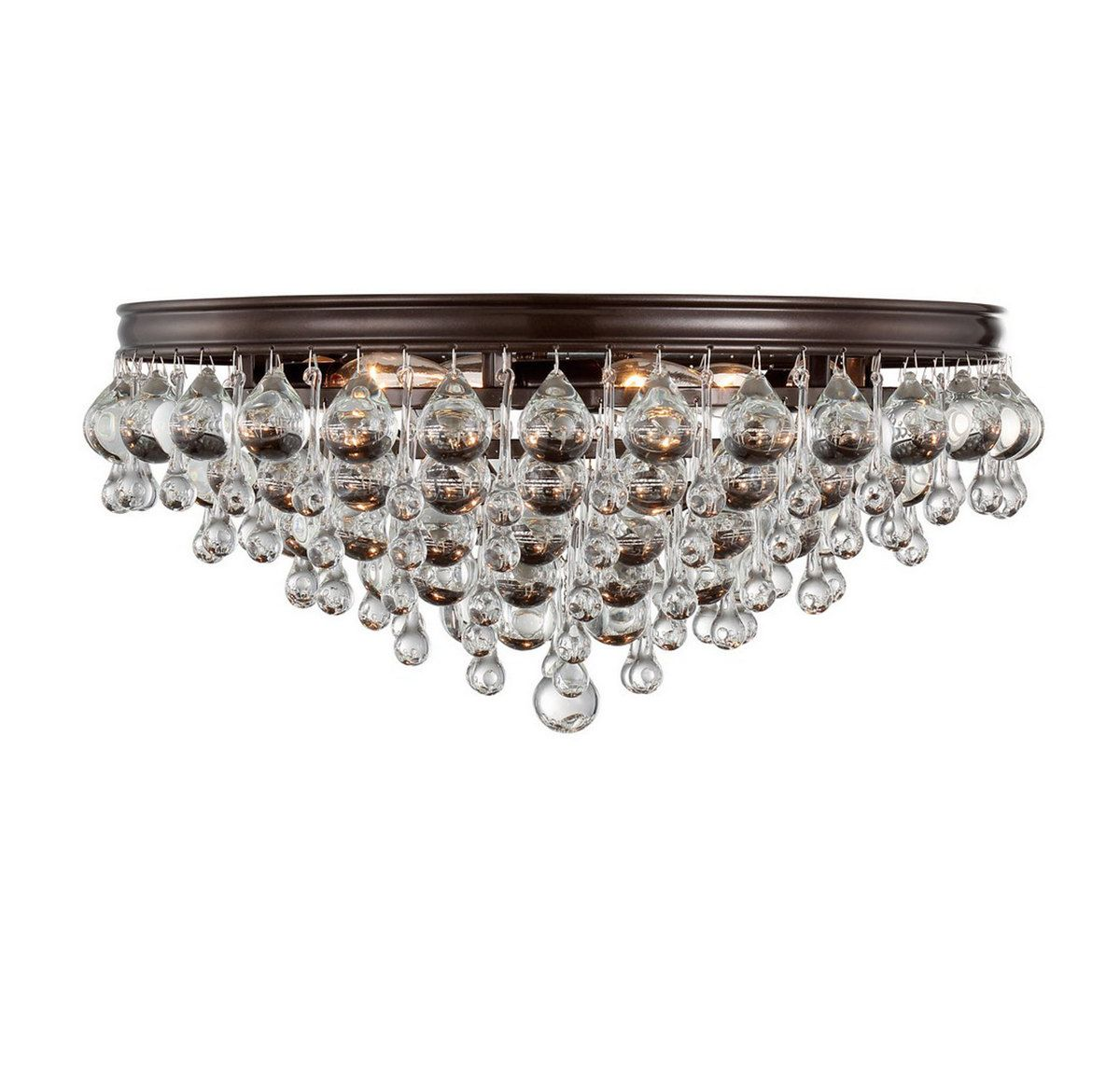 Crystorama Calypso 6 Light Crystal Teardrop Vibrant Flush Mount In Bronze