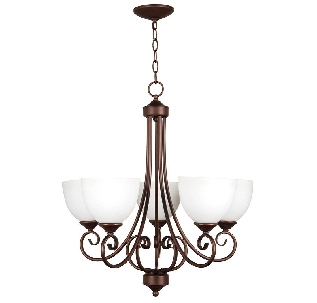 Craftmade Raleigh 5-Light White Frosted Chandelier In Old