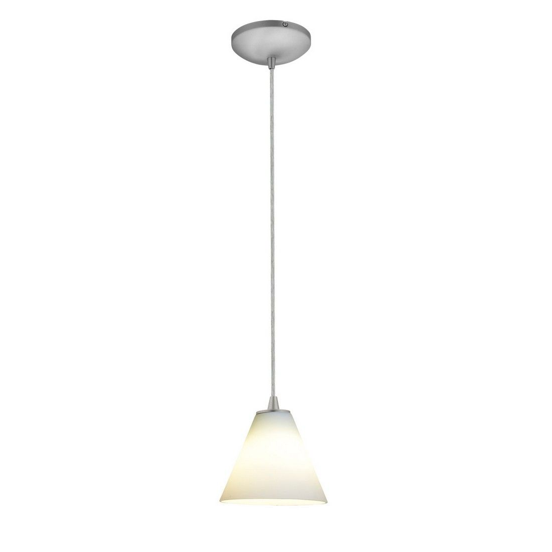 Access Lighting Martini White Gl Corded Pendant In Brushed Steel