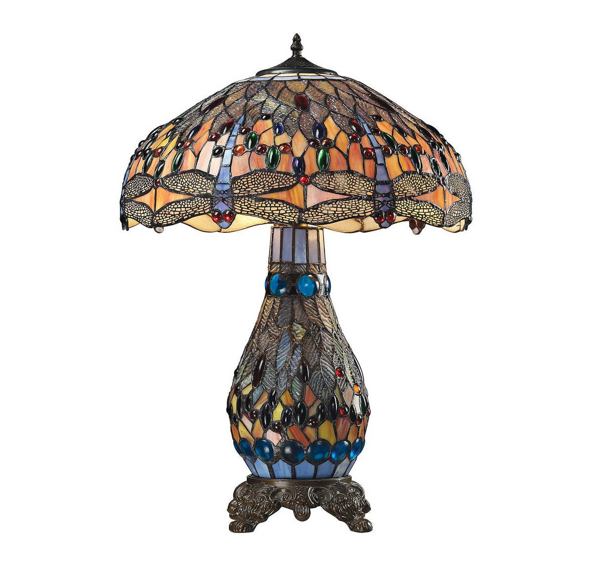 Dimond Dragonfly 26 Tiffany Glass Table Lamp In Tiffany Bronze