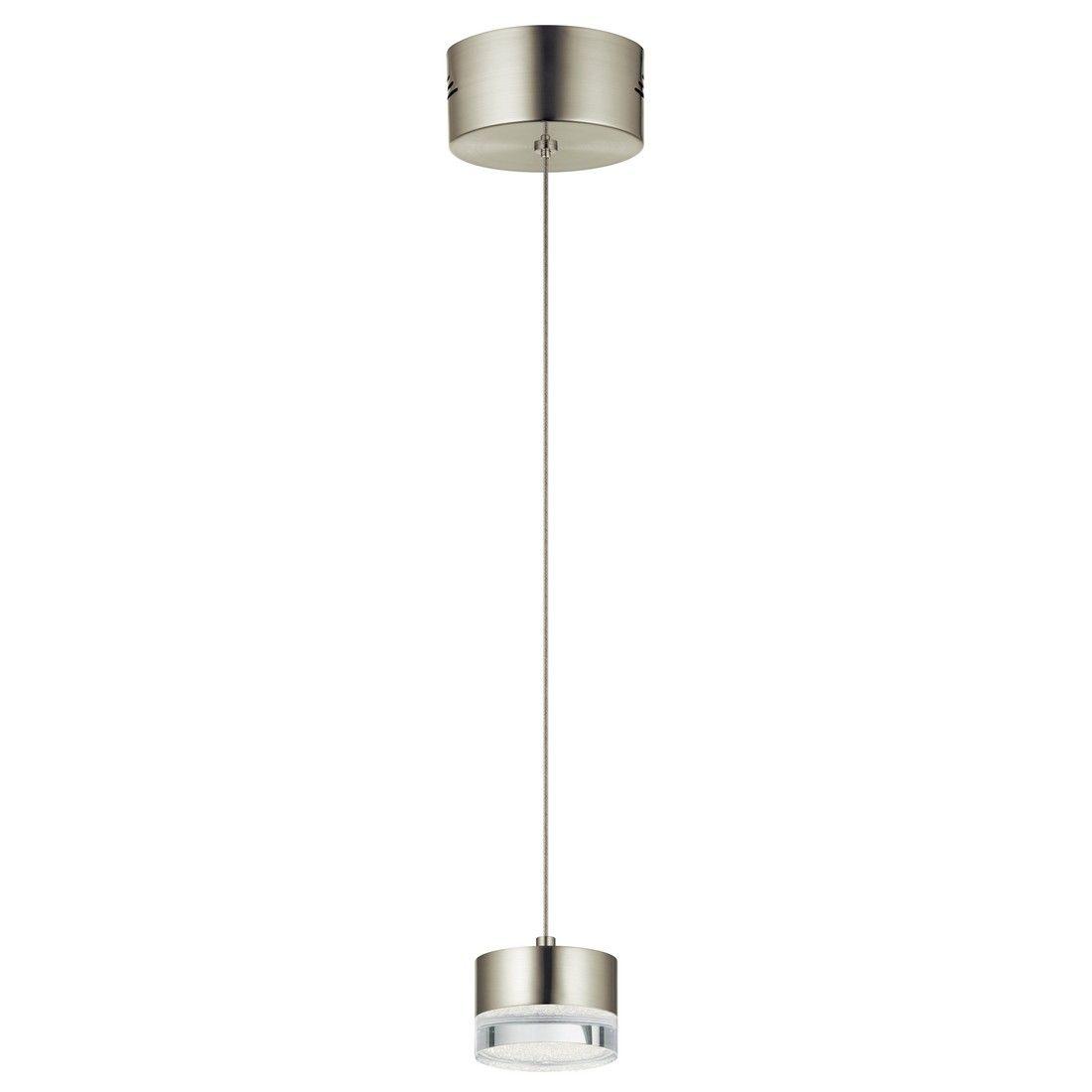 """3 Light Led Ceiling Pendant Brushed Nickel Contemporary: Elan Avenza 3.25"""" LED Mini Pendant In Brushed Nickel"""