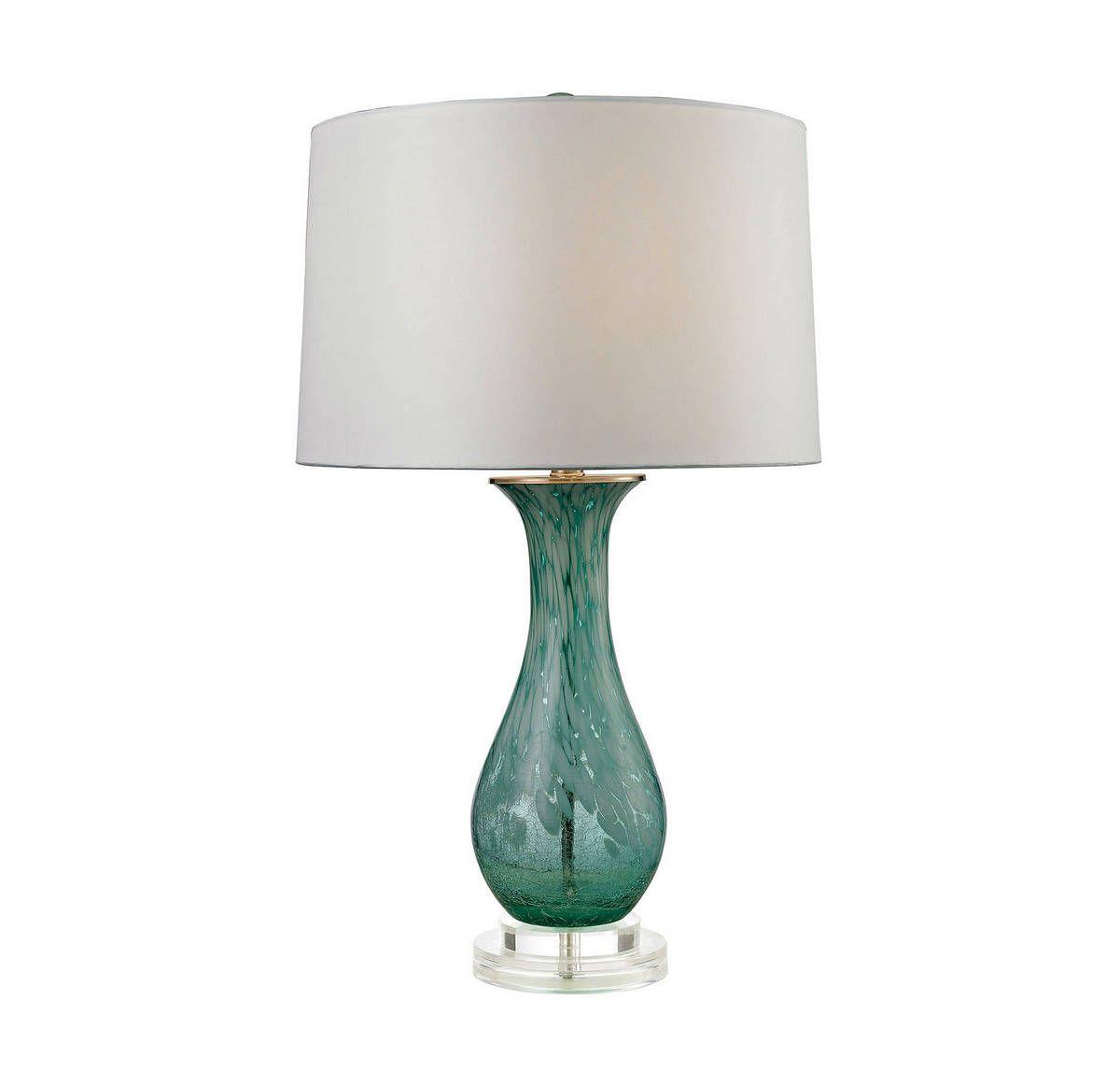 Dimond Swirl 27 Tall Glass Table Lamp In Clear Aqua Swirl Table