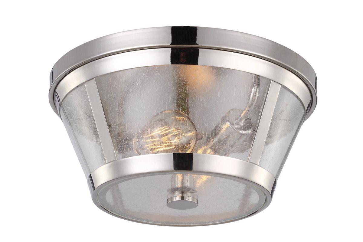 Feiss Harrow 2 Light Polished Nickel Flush Mount