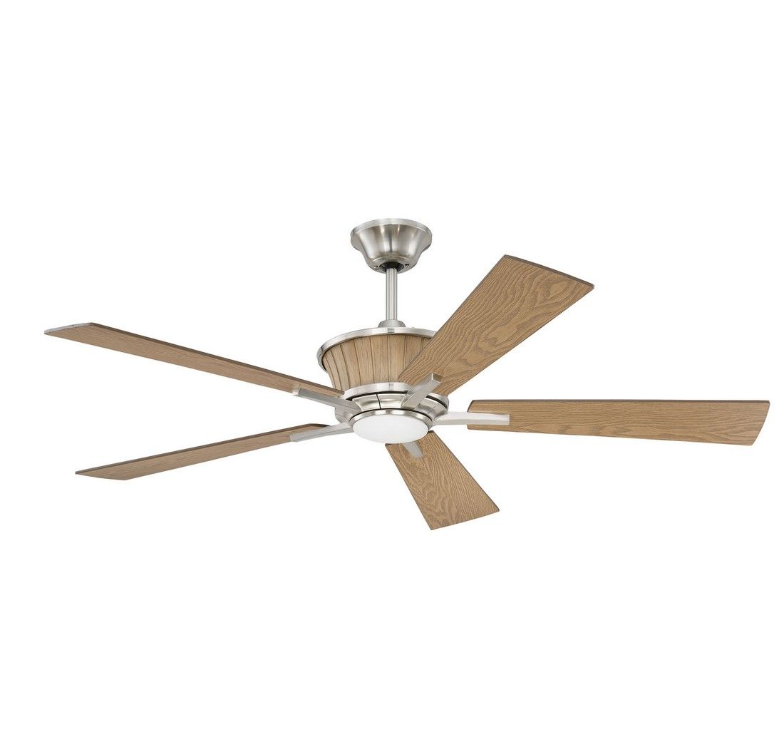 """High Resolution Quality Ceiling Fans 5 Chrome Ceiling Fan: Craftmade Kinsman 52"""" Ceiling Fan In Brushed Nickel"""