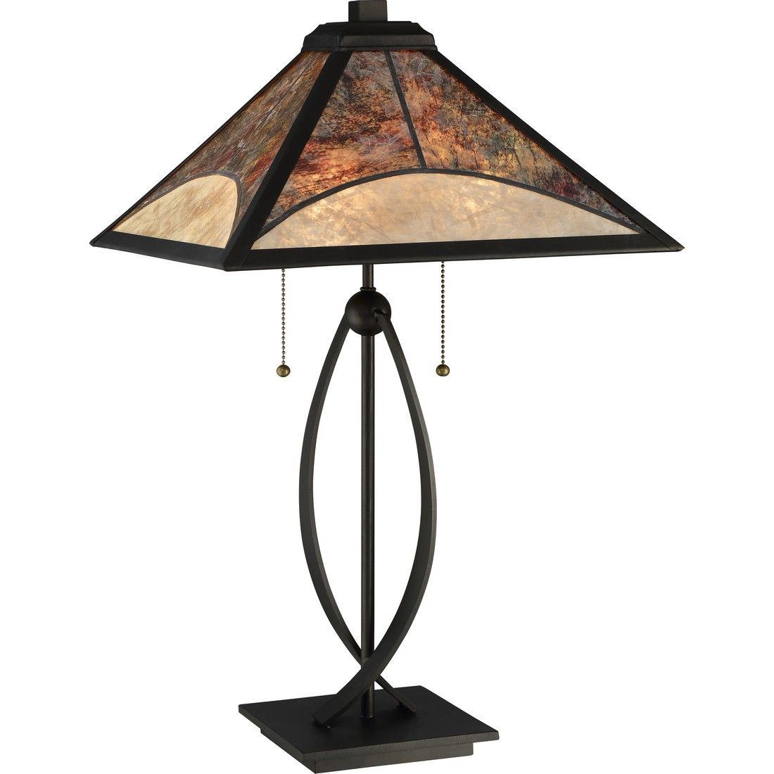 Quoizel Mica 24 75 2 Light Mica Shade Table Lamp In Dark Bronze