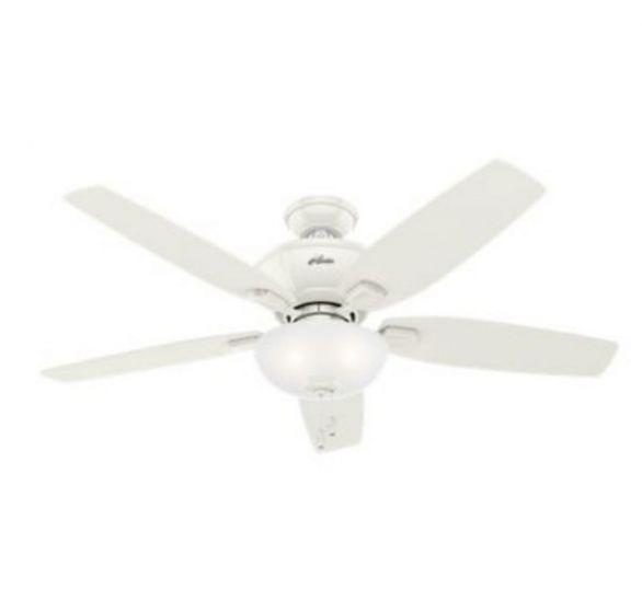 """Hunter Kenbridge 52"""" 3-Light LED Cased White Indoor Ceiling Fan in White"""