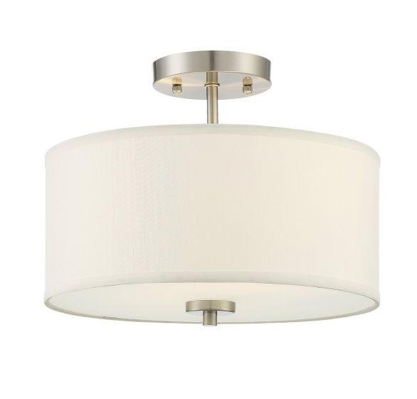 Trade Winds Drum 2-Light Semi-Flush Ceiling Light in Brushed Nickel
