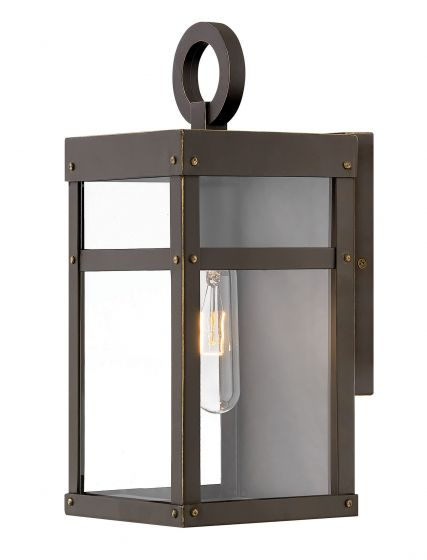 Hinkley Porter Iron 1-Light Outdoor Mini Wall Sconce in Oil Rubbed Bronze