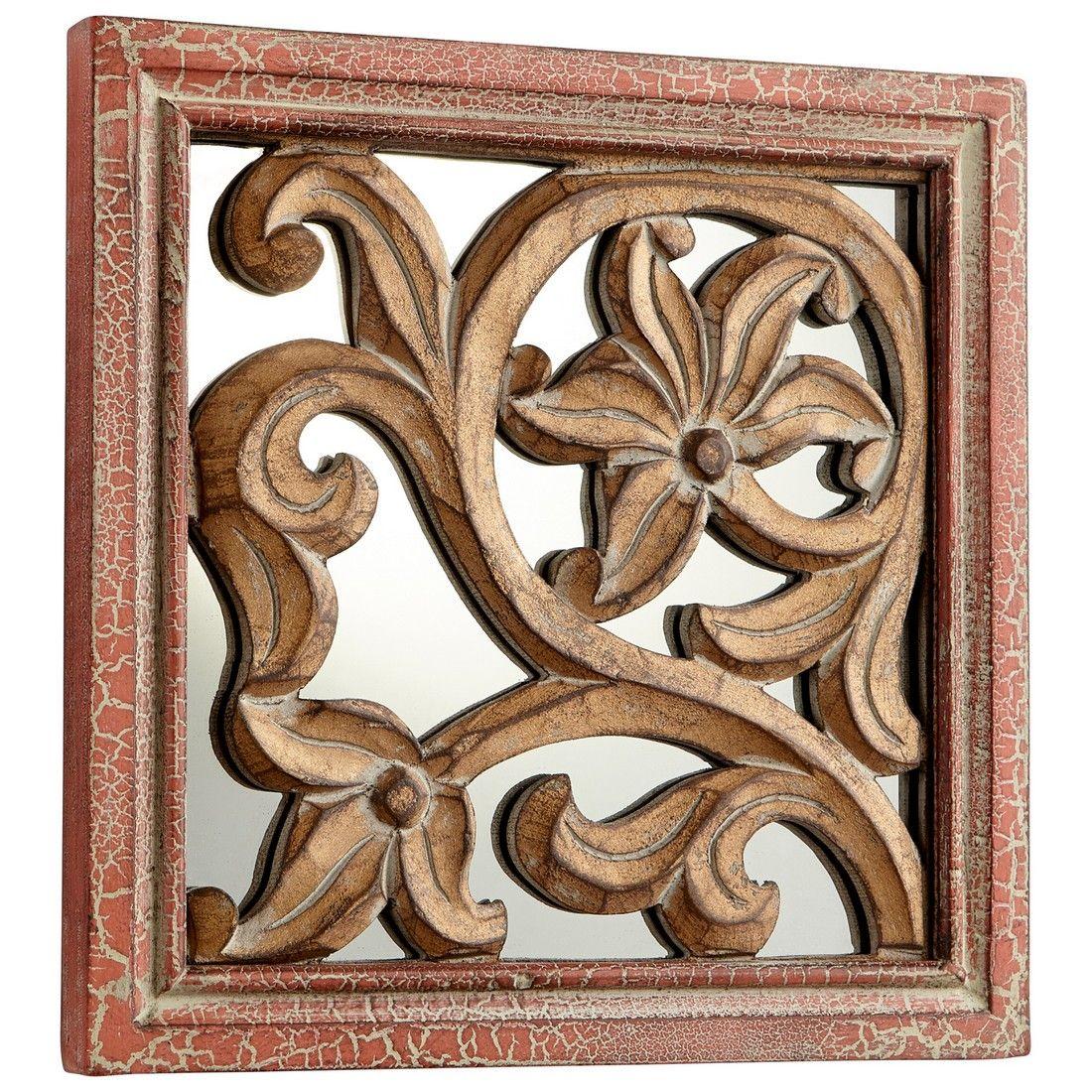 Cyan Design Vague 10 Mirrored Glass Wall Art In Antique Cherry