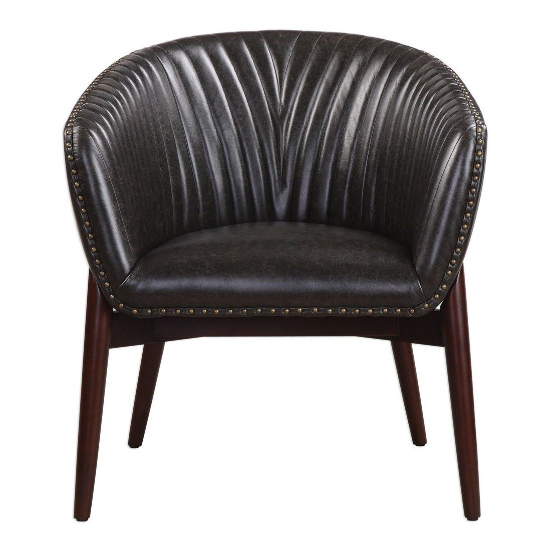 Awesome Uttermost Anders 31 5 Onyx Faux Leather Accent Chair In Walnut Stained Creativecarmelina Interior Chair Design Creativecarmelinacom