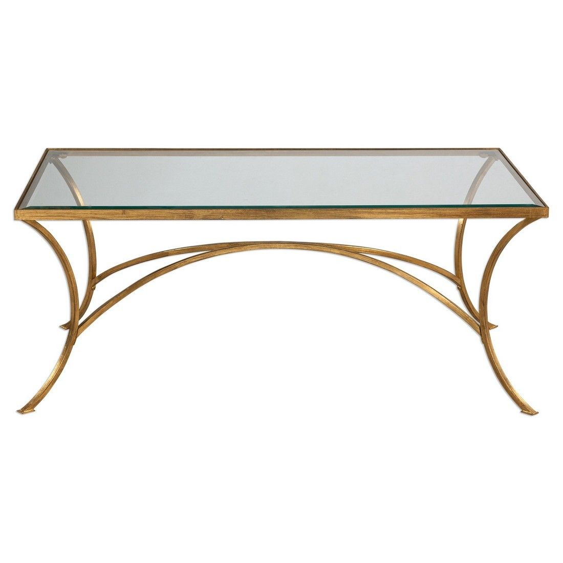 Uttermost Alayna Clear Beveled Gl Coffee Table In Antique Gold Leaf