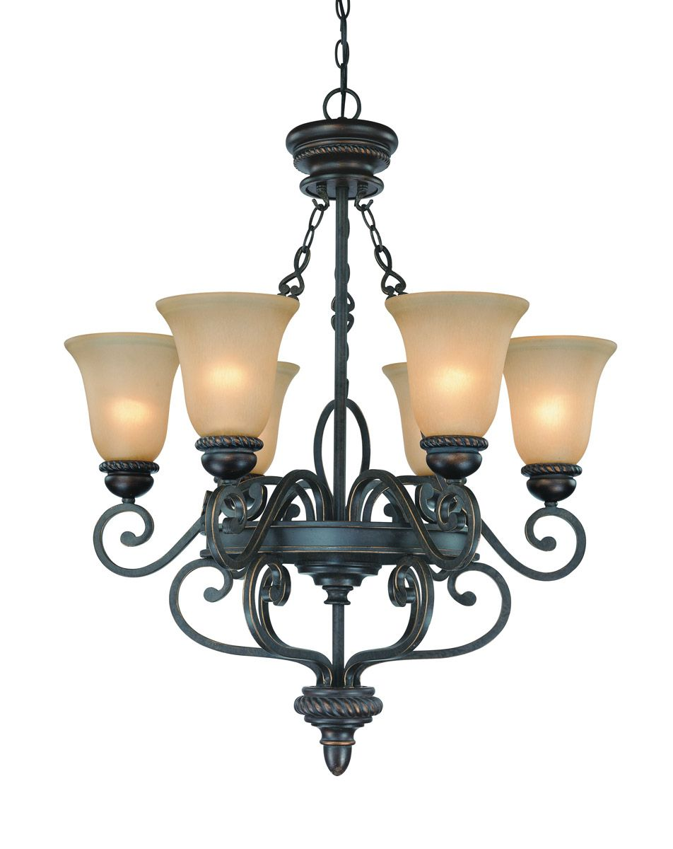 Craftmade Highland Place 6 Light Traditional Chandelier In Mocha Bronze